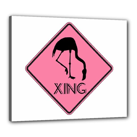 Flamingo Crossing Traffic Sign Canvas 24  X 20  by CrypticFragmentsColors