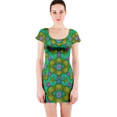 Peace Flowers In A Scandinavia Mix Of Acrylpaint Short Sleeve Bodycon Dress by pepitasart