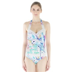 Labyrinth Barn Owl Women s Halter One Piece Swimsuit