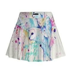 Labyrinth Barn Owl Mini Flare Skirt by lvbart
