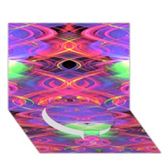 Neon Night Dance Party Pink Purple Circle Bottom 3d Greeting Card (7x5)  by CrypticFragmentsDesign
