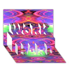 Neon Night Dance Party Pink Purple Work Hard 3d Greeting Card (7x5)  by CrypticFragmentsDesign