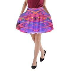 Neon Night Dance Party Pink Purple A Line Pocket Skirt by CrypticFragmentsDesign