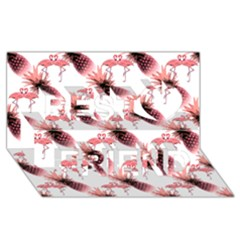 Flamingo Pineapple Tropical Pink Pattern Best Friends 3d Greeting Card (8x4)  by CrypticFragmentsColors