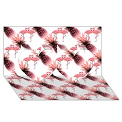 Flamingo Pineapple Tropical Pink Pattern Twin Hearts 3d Greeting Card (8x4)  by CrypticFragmentsColors