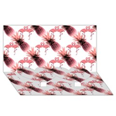 Flamingo Pineapple Tropical Pink Pattern Twin Heart Bottom 3d Greeting Card (8x4)  by CrypticFragmentsColors
