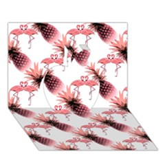 Flamingo Pineapple Tropical Pink Pattern Apple 3d Greeting Card (7x5)  by CrypticFragmentsColors