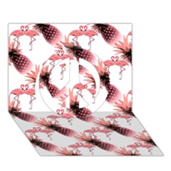 Flamingo Pineapple Tropical Pink Pattern Peace Sign 3d Greeting Card (7x5)  by CrypticFragmentsColors