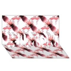 Flamingo Pineapple Tropical Pink Pattern #1 Mom 3d Greeting Cards (8x4)  by CrypticFragmentsColors