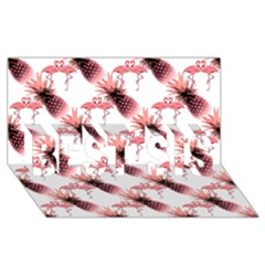 Flamingo Pineapple Tropical Pink Pattern Best Sis 3d Greeting Card (8x4)  by CrypticFragmentsColors