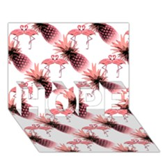 Flamingo Pineapple Tropical Pink Pattern Hope 3d Greeting Card (7x5)  by CrypticFragmentsColors
