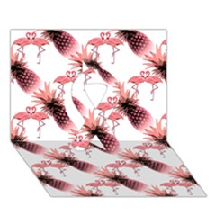 Flamingo Pineapple Tropical Pink Pattern Ribbon 3d Greeting Card (7x5)  by CrypticFragmentsColors