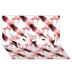 Flamingo Pineapple Tropical Pink Pattern Sorry 3d Greeting Card (8x4)  by CrypticFragmentsColors