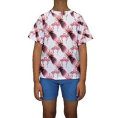 Flamingo Pineapple Tropical Pink Pattern Kid s Short Sleeve Swimwear by CrypticFragmentsColors