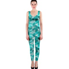 Aquamarine Geometric Triangles Pattern Onepiece Catsuit by KirstenStar