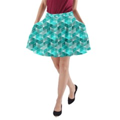 Aquamarine Geometric Triangles Pattern A Line Pocket Skirt