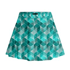 Aquamarine Geometric Triangles Pattern Mini Flare Skirt by KirstenStar