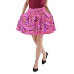 Bright Pink Confetti Storm A-line Pocket Skirt by KirstenStar