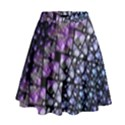 Dusk Blue and Purple Fractal High Waist Skirt View1