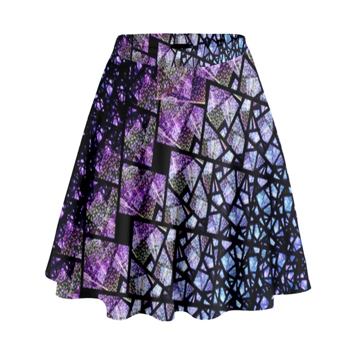Dusk Blue and Purple Fractal High Waist Skirt