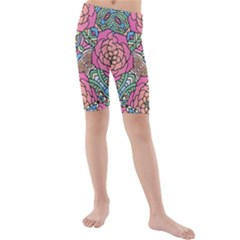Petals, Carnival, Bold Flower Design Kid s Mid Length Swim Shorts by Zandiepants