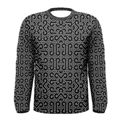 Black And White Ethnic Sharp Geometric  Print Men s Long Sleeve Tee by dflcprintsclothing
