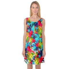 Watercolor Tropical Leaves Pattern Sleeveless Satin Nightdress