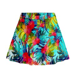 Watercolor Tropical Leaves Pattern Mini Flare Skirt by TastefulDesigns