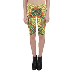 Petals   Retro Yellow   Bold Flower Design Cropped Leggings  by Zandiepants