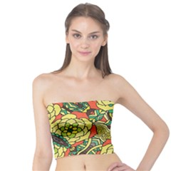 Petals   Retro Yellow   Bold Flower Design Tube Top by Zandiepants