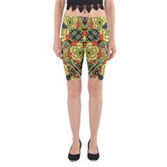 Petals   Retro Yellow   Bold Flower Design Yoga Cropped Leggings