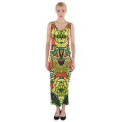 Petals   Retro Yellow   Bold Flower Design Fitted Maxi Dress by Zandiepants