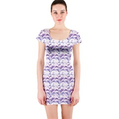 Floral Stripes Pattern Short Sleeve Bodycon Dress by dflcprintsclothing