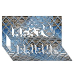 Mirrored Glass Tile Urban Industrial Best Friends 3d Greeting Card (8x4)