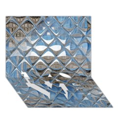 Mirrored Glass Tile Urban Industrial Love Bottom 3d Greeting Card (7x5)  by CrypticFragmentsDesign