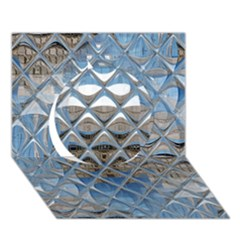 Mirrored Glass Tile Urban Industrial Circle 3d Greeting Card (7x5)  by CrypticFragmentsDesign