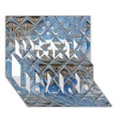 Mirrored Glass Tile Urban Industrial Work Hard 3d Greeting Card (7x5)  by CrypticFragmentsDesign