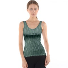 Whimsical Feather Pattern, Forest Green Tank Top by Zandiepants