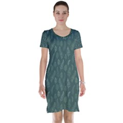 Whimsical Feather Pattern, Forest Green Short Sleeve Nightdress by Zandiepants