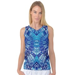 Blue Mirror Abstract Geometric Women s Basketball Tank Top by CrypticFragmentsDesign