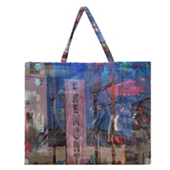 Las Vegas Strip Walking Tour Zipper Large Tote Bag by CrypticFragmentsDesign