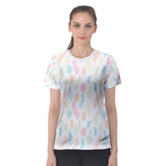 Whimsical Feather Pattern,fresh Colors, Women s Sport Mesh Tee by Zandiepants