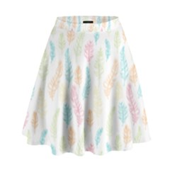 Whimsical Feather Pattern,fresh Colors, High Waist Skirt by Zandiepants