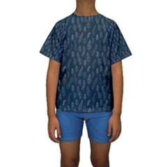 Whimsical Feather Pattern, Midnight Blue, Kid s Short Sleeve Swimwear by Zandiepants