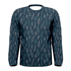 Whimsical Feather Pattern, Midnight Blue, Men s Long Sleeve Tee by Zandiepants