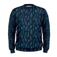 Whimsical Feather Pattern, Midnight Blue, Men s Sweatshirt by Zandiepants