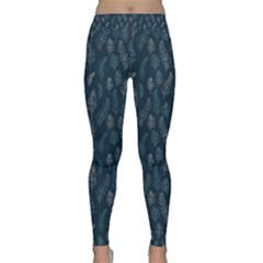 Whimsical Feather Pattern, Midnight Blue, Yoga Leggings by Zandiepants