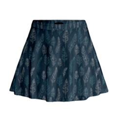 Whimsical Feather Pattern, Midnight Blue, Mini Flare Skirt