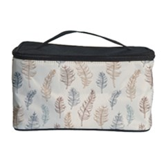 Whimsical Feather Pattern, Nature Brown, Cosmetic Storage Case by Zandiepants