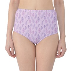 Whimsical Feather Pattern, Pink & Purple, High-waist Bikini Bottoms by Zandiepants
